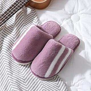 Men's Slippers, Winter Warm Cotton Slippers, Indoor Household Thick-Soled Non-Slip Men and Women Slippers Soft (Color : Gray, Size : UK6.5-UK7) No brand (Color : Purple, Size : UK6.5-UK7)