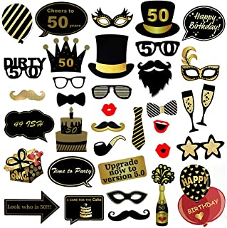 50th Birthday Photo Booth Props - 35-Pack Forty Birthday Party Supplies, Selfie Props, Pre-Assembled Gold and Black Decoration Accessories on Bamboo Sticks for Men, Women, Unisex, Assorted Designs