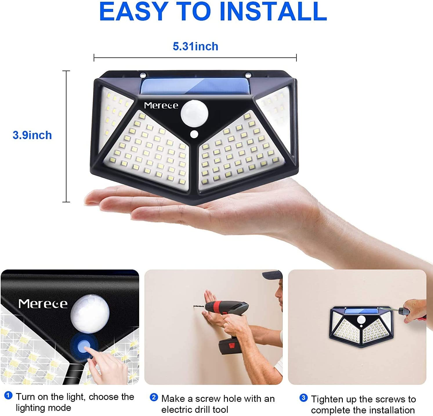 3 Lighting Modes Wireless Motion Sensor Security Lights Solar Lights Outdoor 100LED with 270/° Wide Angle for Backyard Garden Fence Patio Front Door -6 Pack IP65 Waterproof Solar Powered Wall Lights