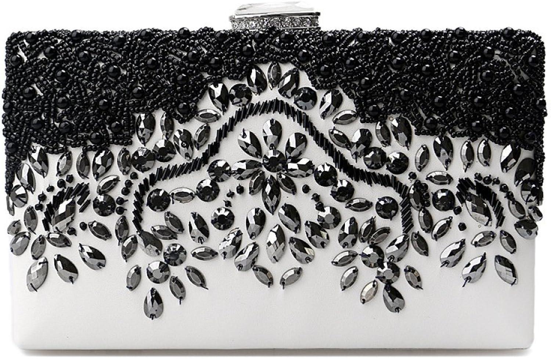 AGOPO Schultertasche damen PU Leder Abendhandtasche Handgemachte Perle Handtasche Party Prom Hochzeit Geldbörse Umhängetasche (Farbe   schwarz, Größe   20  4  12cm) B07PFMWM2X  Auktion