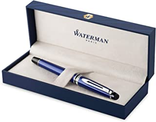 Waterman Expert Rollerball Pen, Blue with Chrome Trim, Fine Point with Black Refill, Gift Box