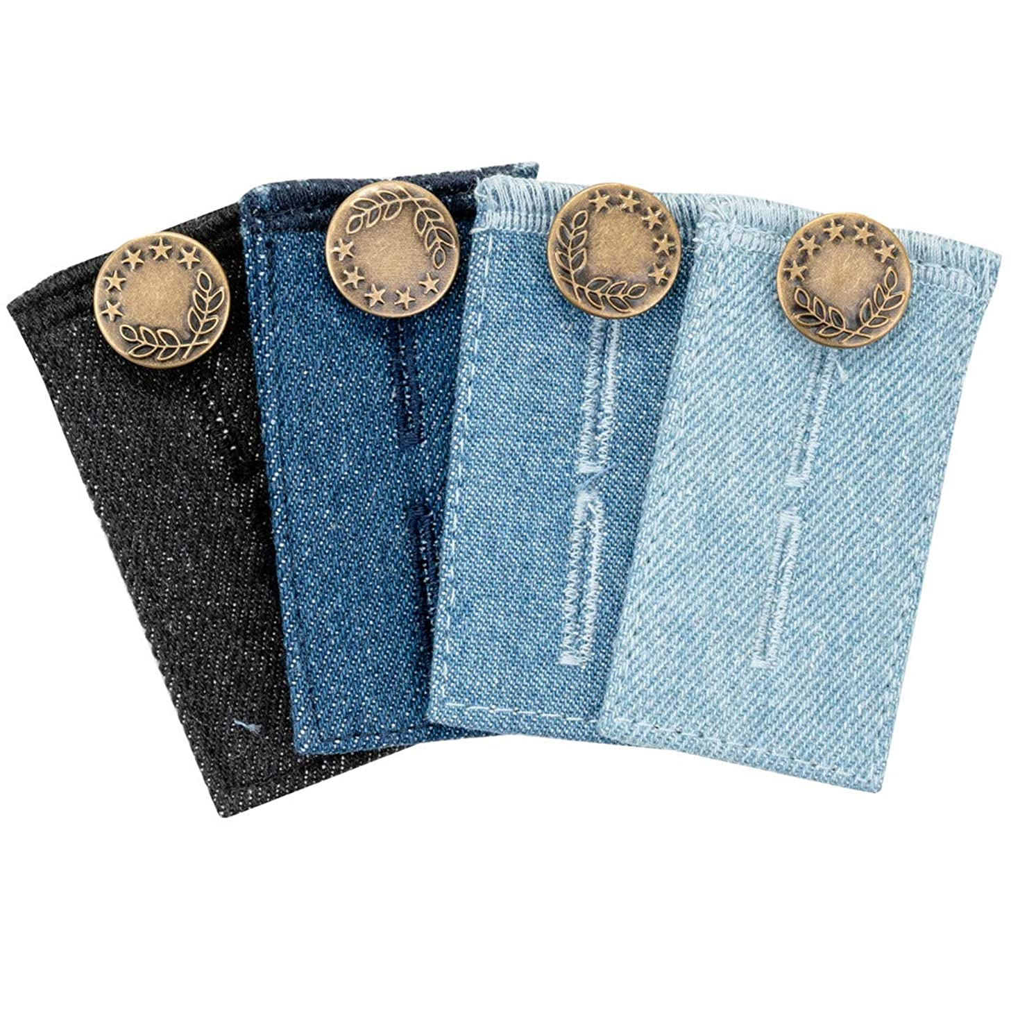 4Pcs Waist Extender, Button Extender with Metal Button for Men and Women Pants, Jeans, Trousers and Skirt