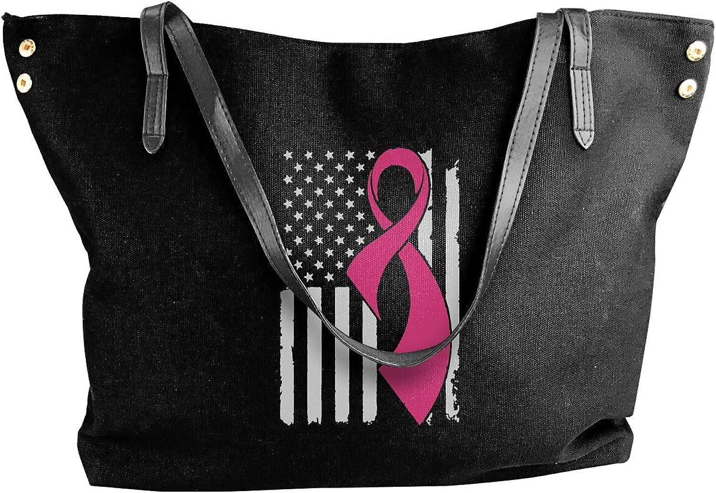 Breast Cancer Awareness Flag-2 Women'S Leisure Canvas Shoulder Bag For Work Handbag