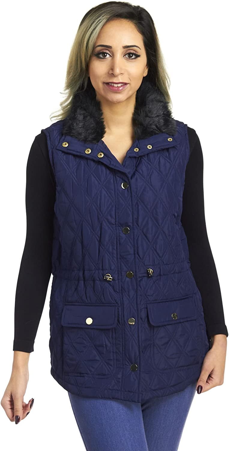 Fully Lined Snap Front Diamond Quilted Anorak Vest with Faux Fur Collar (Small) Navy