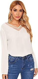 Women's Casual Long Sleeve V Neck Mesh Blouse Shirt Top