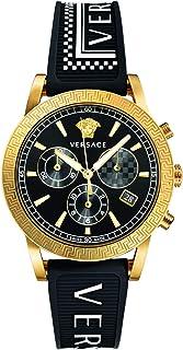Versace - Sport Tech Sport Tech - Reloj de pulsera para mujer (40 mm, D/BL S/BLK, BICIP2N IPGR MIDD W/Ches Text/SIL VELT00119)