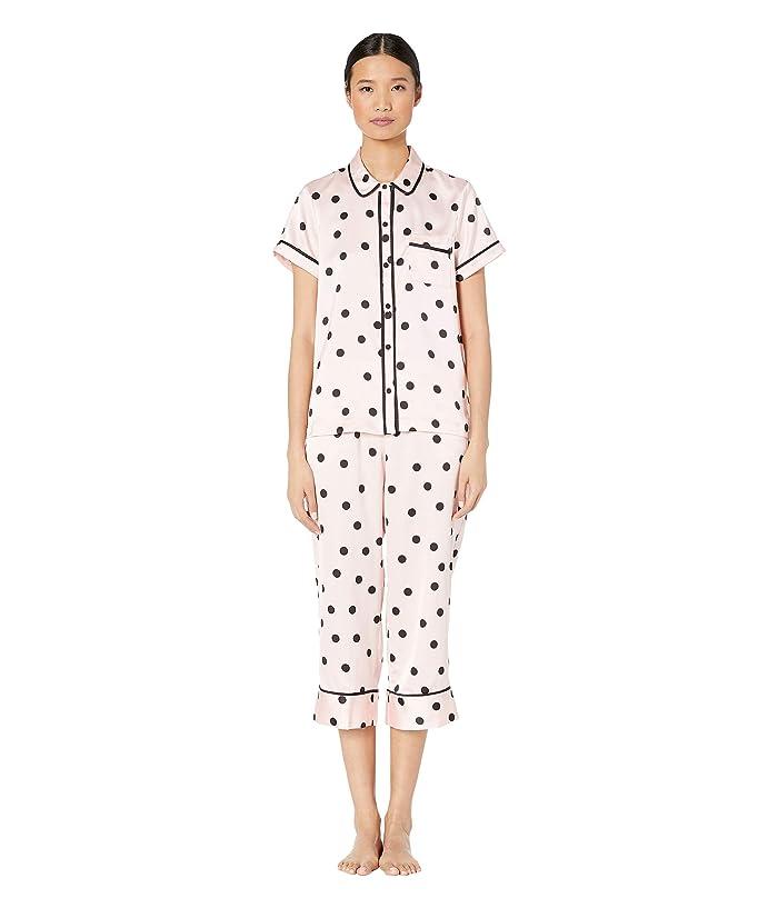 Kate Spade New York Charmeuse Cropped Pajama Set (Pink Dot) Women