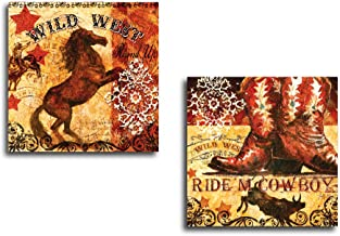Portfolio Canvas Decor 2 Piece 'True West Mustang' by Geoff Allen Wrapped and Stretched Canvas Wall Art Set, 16 x 16