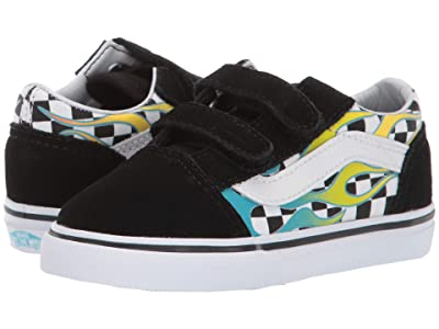 Vans Kids Old Skool V (Infant/Toddler) ((Surf Flame) Scuba Blue/Black) Kids Shoes