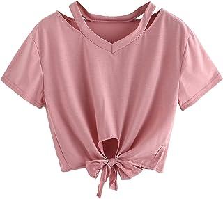 1d327e02a2 SweatyRocks Women s Loose Short Sleeve Summer Crop T-Shirt Tops Blouse