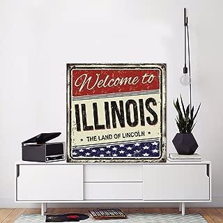 Fhdang Decor Welcome to Illinois,Illinois Metal Sign, Metal Art, Metal Print, American City Print, Vintage Sign, City Sign, 12