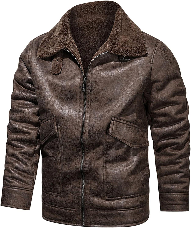 Men's Winter Leisure Cashmere Zipper Turndown Collar Pocket Leather Coat Jacket