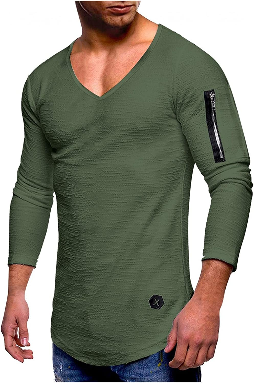 Long Sleeve Tee Shirts for Men V-neck Fashion Athletic Sweatshirt Casual Muscle T-Shirts Sport Pullover Tops