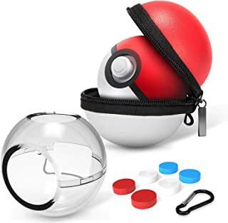 HEYSTOP (Upgraded Version) Portable Carrying Case for Nintendo Switch Poke Ball Plus Controller, Accessory Bag for Pokémon: Let's Go Pikachu Eevee Game for Nintendo Switch(Carrying Case+Clear case)