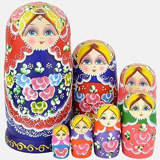 YAKELUS, marca profesional de Matrioska, Muñecas Rusas Matrioska 7 piece Madera Matrioska de Rusia de 7 capas, hecha a mano y por el tilo, es un juguete y un regalo
