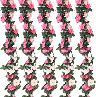 HEBE 6 Pack 50 FT Artificial Rose Flowers Vine Garlands Fake Hanging Rose Flower Plants Home Hotel Office Wedding Party Garden Craft Art Décor Pink
