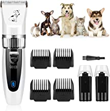 GHB Dog Clippers Dog Grooming Clippers Pet Grooming Kit Cordless Low Noise with 2 Rechargeable Batteries 4 Guide Combs and...