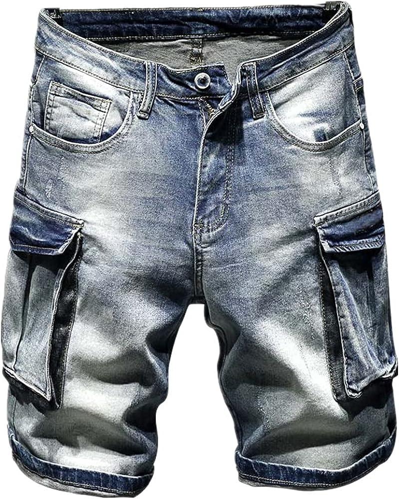 NP Men's Casual Denim Shorts, Multi-Pocket Straight Short Jeans for Men