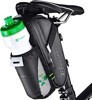 ROCK BROS 1.6L Large Bike Saddle Bags with Water Bottle Pouch Waterproof Bike Bags Under Seat Pack for Mountain Road Bicycles Storage Repair Kit Tools Gear