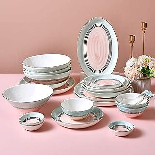ywewsq Ensembles de Table en céramique, Ensemble de Vaisselle de Luxe en Porcelaine de Style Nordique de 43 pièces  Bol d...