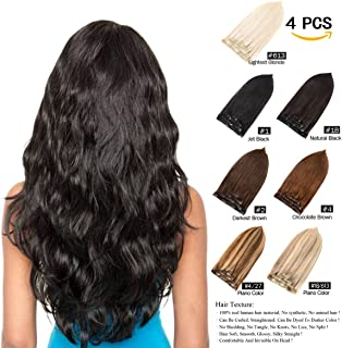 "GEELOOK Clip in Hair Extensions 18"" Double Weft 100% Remy Human Hair Grade 7A Quality Thick Long Soft Silky Straight 4pcs 10clips for Women 70grams Natural Black #1B Color"