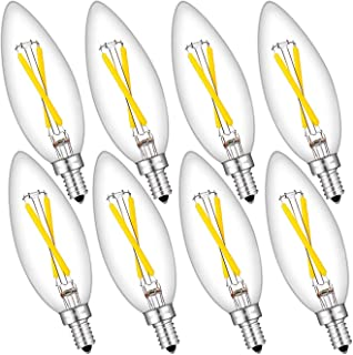2W Dimmable 250 Lumens LED Filament Candelabra Bulbs, 4000K Neutral White, 25W Incandescent Equivalent