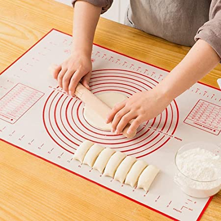 Tapis de Cuisson Patisserie en Silicone Anti-adhésif Réutilisable Baking Mat Fondant Pâte, 100% sans Bisphénol-A (BPA), avec Mesure, 60 x 40 cm (Rouge)