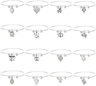 HENGSHENG 16 PCS Bracelets Set Pearl Cage Charm Bangle Bracelets with 1 PC Real Freshwater Oval Pearl in Locket Pendant