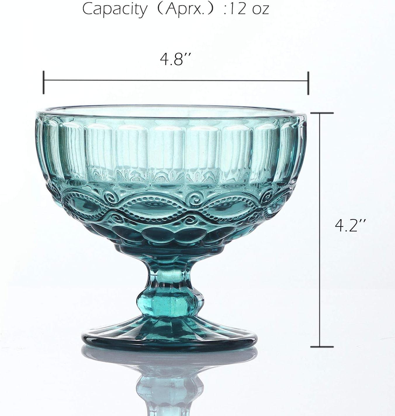 Set of 4,12 Oz VanEnjoy Purple Vintage Pressed Pattern Glass Ice Cream Cups//Dessert Bowls