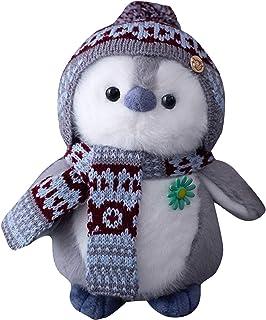 Juguete de peluche de pingüino, lindo peluche de dibujos animados para parejas, con sombrero y bufanda, suave almohada decorativa regalo para niñas dormir en casa, sala de estar o dormitorio