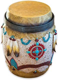 Bits and Pieces - Native American Drum Stand - Hand Painted Southwestern End Table - Decorative Indoor or Outdoor Side Table