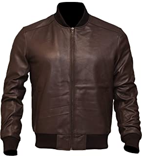 Stand Up Collar Mens Casual Bomber Motorcycle Genuine Leather Biker Jacket