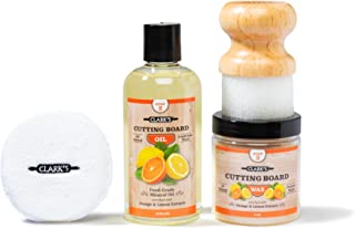 CLARK'S Cutting Board Finishing Kit | Orange-Lemon Scent | CLARK'S Cutting Board Oil (12 oz) - Cutting Board Wax (6oz) - Small Applicator - Buffing Pad
