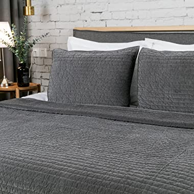 ELEGANT LIFE HOME Royal Cotton Velvet Pic-Stitch King Pillow Sham - 20'' x 36'', Gray