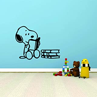 Snoopy Wall Decals for Kids Bedroom/Snoopy Dog Boy Room Decor/Vinyl Art Stickers Decal Childrens Rooms/The Peanuts Movie Cartoon Character Reading Books Fun Dogs Decoration- Size (18x20 inch)