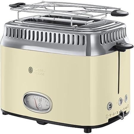 Russell Hobbs Toaster Grille-Pain, 3 Fonctions, Température Ajustable, Réchauffe Viennoiserie, Design Vintage - Crème 21682-56 Retro