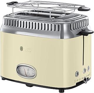 Russell Hobbs Toaster Grille-Pain, 3 Fonctions, Température Ajustable, Réchauffe Viennoiserie, Design Vintage - Crème 2168...
