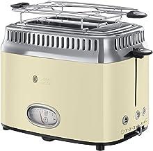 Russell Hobbs Toaster Retro creme, Retro Countdown-Anzeige, inkl. Brötchenaufsatz, 6 einstellbare Bräunungsstufen  Auftau- & Aufwärmfunktion, Schnell-Toast-Technologie, 1300W, Vintage 21682-56