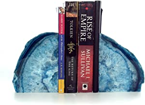 Decorative Bookends. Geode Agate Book Ends for Office Décor and Home (Blue)