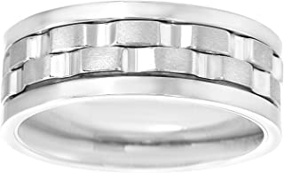 TwoBirch 8 MM Wide Men's Spinner Ring with High Polish Edges and Brushed Center in Rhodium Plated Stainless Steel