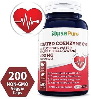 CoQ10 400mg 200 Veggie Caps (Non-GMO & Gluten Free) Coenzyme Q10 Supplement Pills, Antioxidant CO Q-10 Enzyme, Coq 10 for Healthy Blood Pressure & Heart