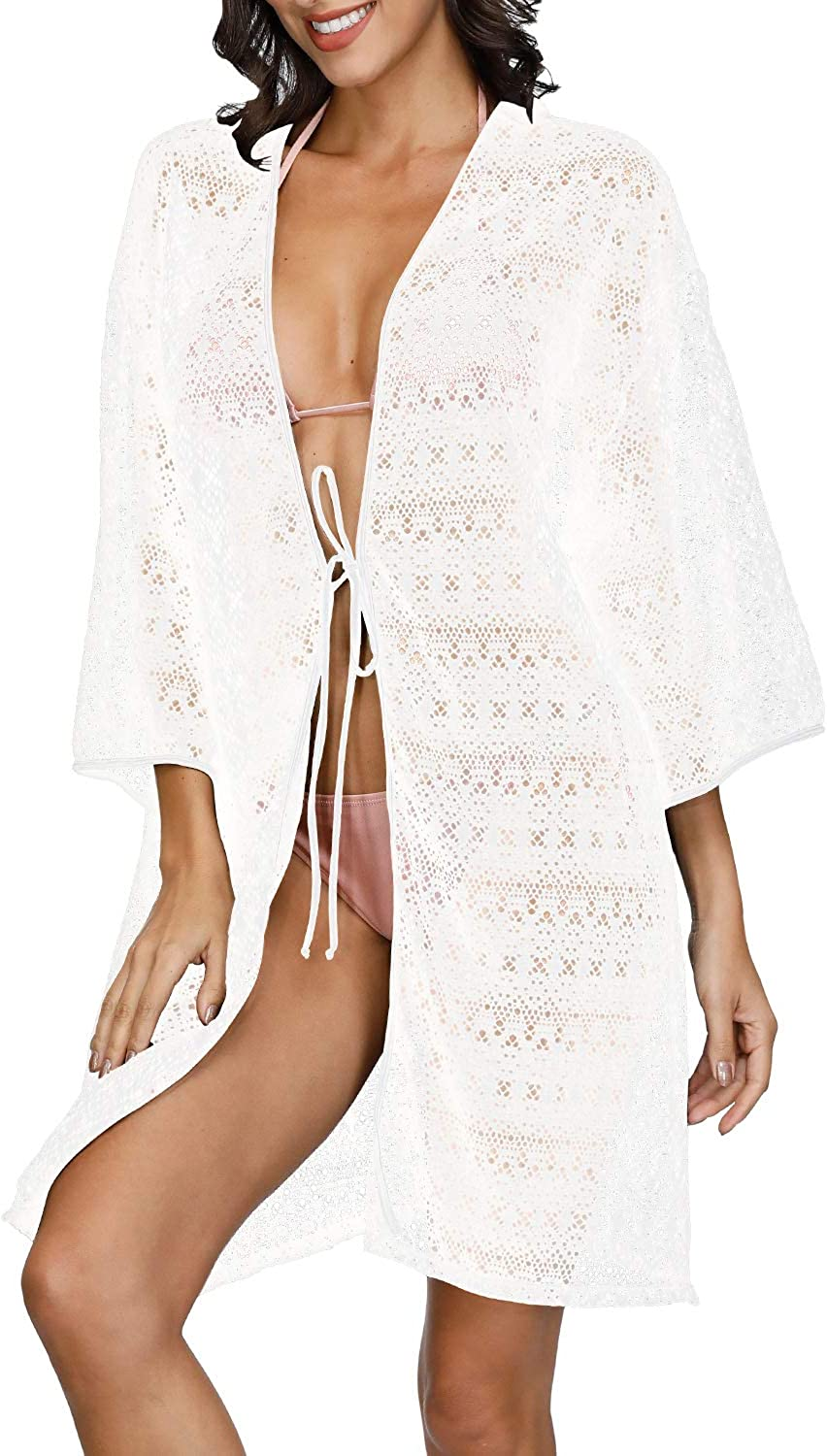 Sovoyontee Women's Crochet Beach Bathing Suit Swim Swimsuit Cover Up, One Size(Bust 46.46