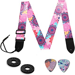 Guitar Strap,Qielizi Guitar Strap with Leather End Length Adjustable 2 Pick Holders & 2 Matching Picks For Electric Guitar, Acoustic Guitar and Bass - Unique Gift For Guitarist(Colorful Flower)