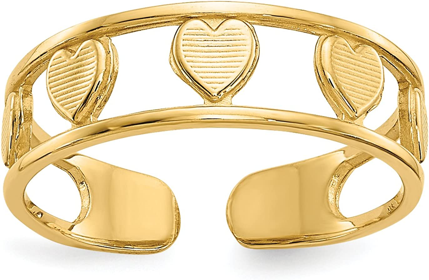 14k Yellow Gold Textured Hearts Inside Split Shank Polished Toe Ring