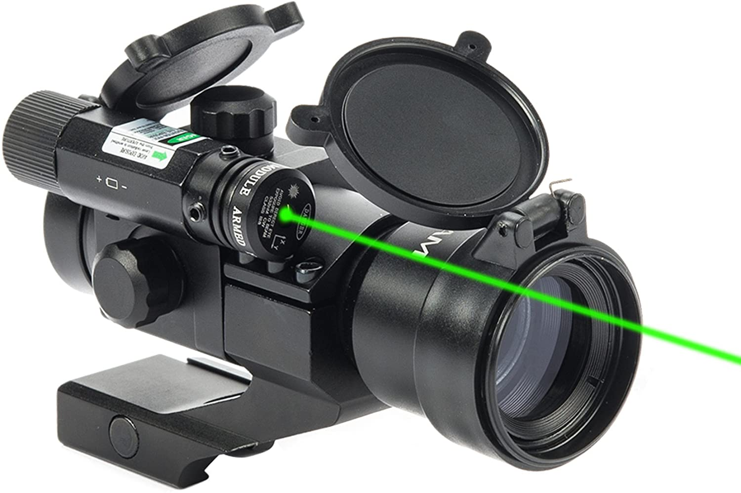 Hiram 1X30 4 MOA Green Red Dot Sight for Rifles with Green Laser, Picatinny Cantilever PEPR Mount : Sports & Outdoors
