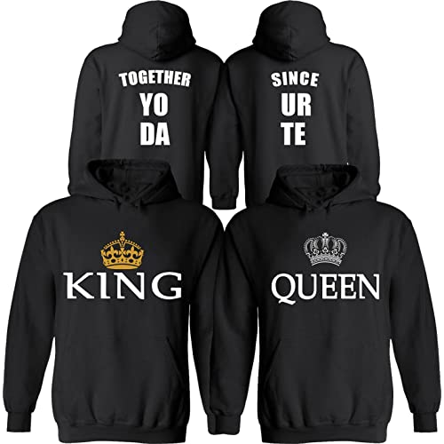 2ae2848e88 King & Queen [Personalized] Together Since [Your Date] - Matching Couple  Hoodies
