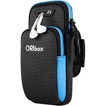"ORIbox Running Armband with Double-layer large-capacity pocket for iPhone 12/11 Pro Max 12 mini XS Max XR X 8 7 6S Plus SE 2020, Galaxy up to 7"", Water Resistant Sports Phone Holder Case (Blue)"
