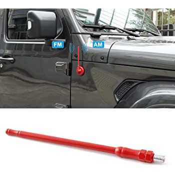 2007-2019 7//13 inches Aluminum Antenna Replacement Black, 13 inch Designed Optimized FM//AM Reception Antenna Compatible with Jeep Wrangler JK JKU JL Rubicon Sahara