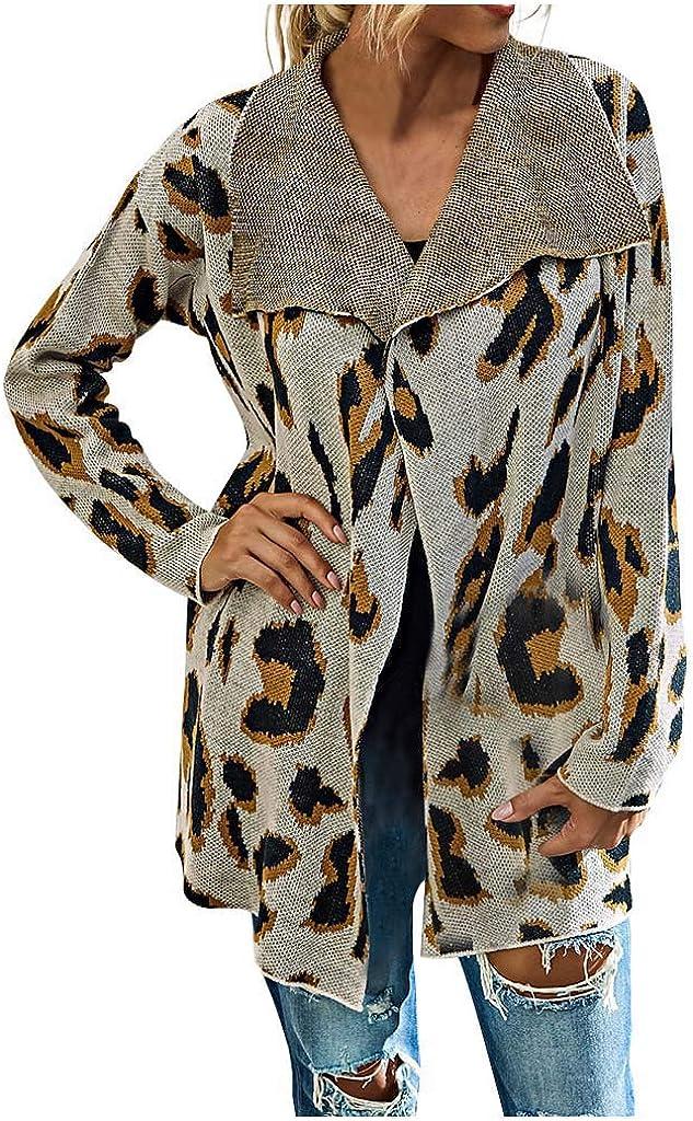 Women Fashion Loose Leopard Print Medium Length Shawl Sweater Cardigan Tops