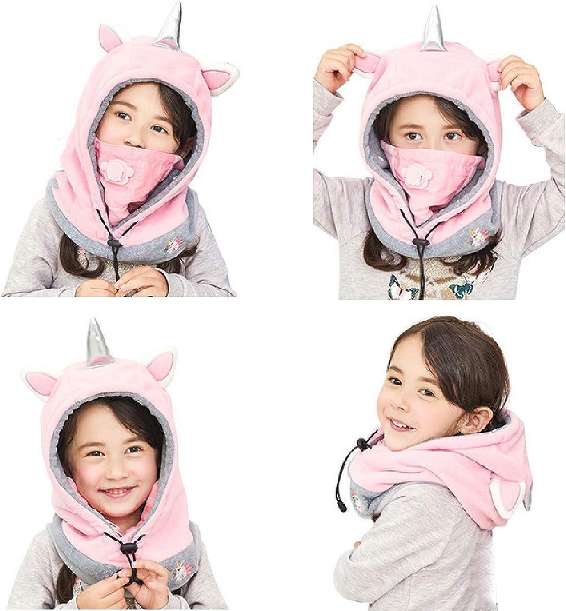 TRIWONDER Kids Balaclava Face Mask Fleece Ski Mask Neck Warmer Nose Warmer Face Cover Winter Animal Hood Hat for Boys Girls (Pink - Unicorn) : Clothing, Shoes & Jewelry